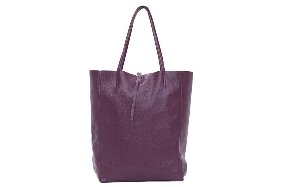 Dark Purple Leather Tote Bag