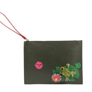 Green Leather Design Pochette