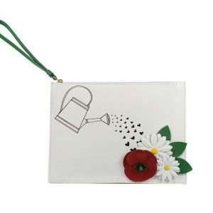 White Leather Floral Design Pochette